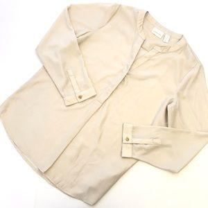 Chico's Ivory White Long Sleeve Metallic Top Sz M